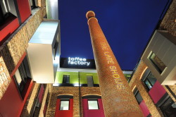 Dated: 15/05/2012 Toffee Factory lights up its chimney as giant glowstick for Newcastle Gateshead's The Late Shows. Toffee Factory, as one of the newest venues to join in The Late Shows, part of and the International Museums at Night festival , turns its distinctive 30 metre high chimney into a giant yellow glowstick, the symbol of Newcastle and Gateshead's after hours culture crawl. #NorthNewsAndPictures/2daymedia